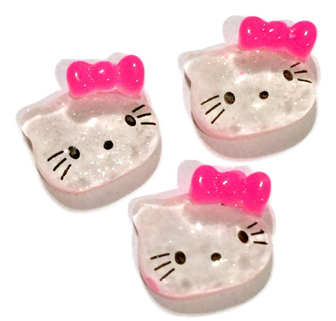 Glitter kitty face w/ hot pink bow resin cabochon 13x15mm / 1-5 pieces - MAE Inspirations