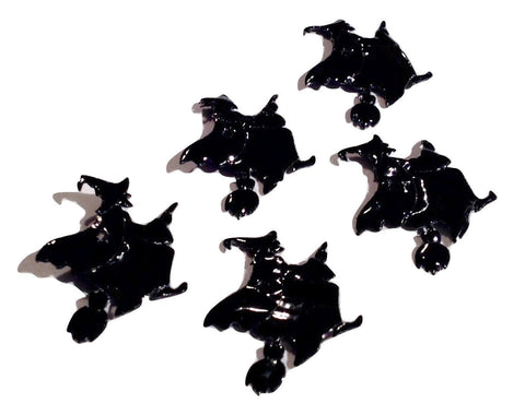 Black Witch on flying broom Halloween appliqués - MAE Inspirations