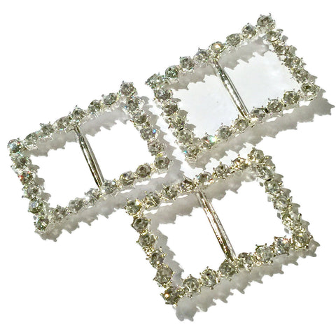 42x33mm JUMBO rectangle rhinestone ribbon sliders - MAE Inspirations  - 1