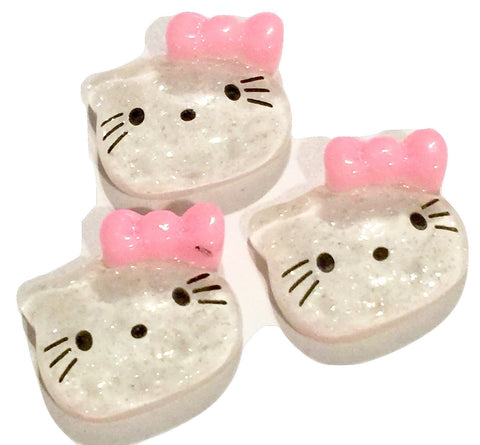 Glitter kitty face w/ light pink bow resin cabochon 13x15mm / 1-5 pieces - MAE Inspirations
