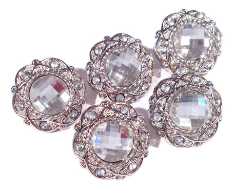 18mm clear acrylic rhinestone button / vintage style - MAE Inspirations  - 1