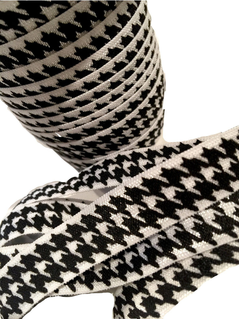 "Black & white houndstooth printed 5/8"" fold over elastic FOE - MAE Inspirations"
