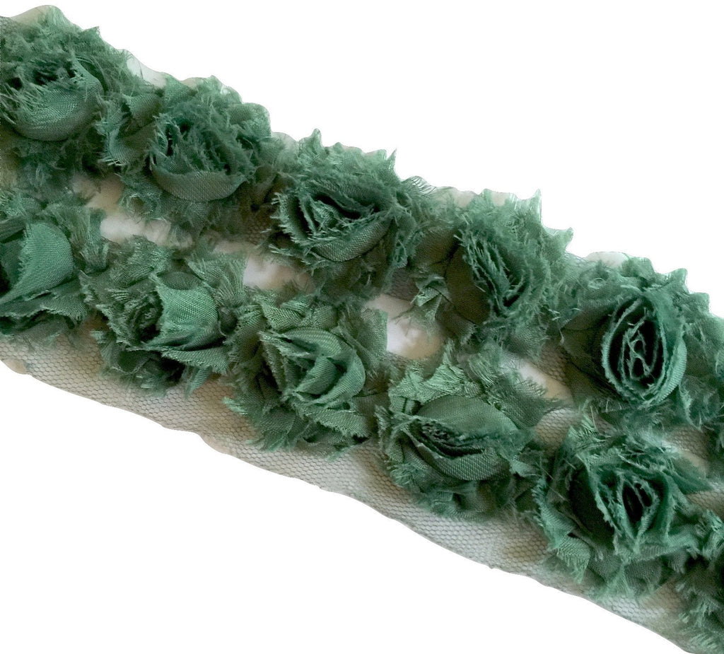 "Army green petite 1.5"" shabby chiffon rose trim - MAE Inspirations"