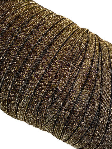 "Black with gold 5/8"" metallic FOE Fold over elastic - MAE Inspirations"