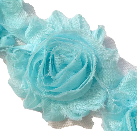 "Aqua blue 2.5"" shabby chiffon rose trim - MAE Inspirations"