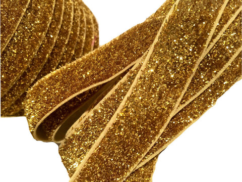 "Gold 5/8"" frosted glitter elastic - MAE Inspirations"