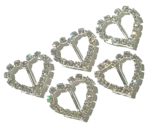 23x20mm heart rhinestone ribbon sliders - MAE Inspirations