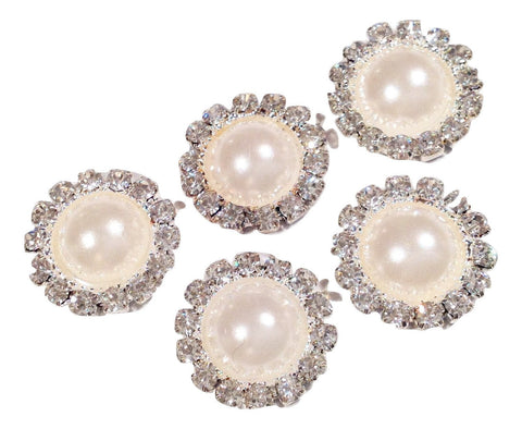 13mm ivory pearl rhinestone metal flat back button - MAE Inspirations