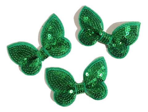 "Emerald green 2"" butterfly sequin bow / 1-3 pieces - MAE Inspirations"