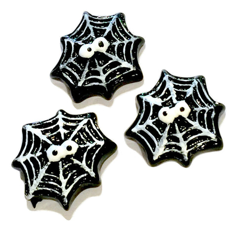 Black spider web w/ eyes resin cabochon 25x26mm / 1-5 pieces - MAE Inspirations