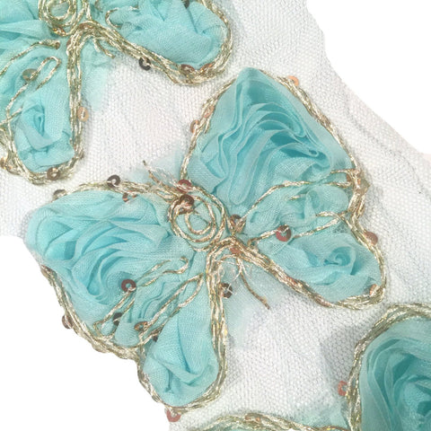 "Aqua blue 3"" sequin butterfly shabby chiffon rose trim - MAE Inspirations"