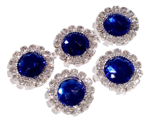 13mm sapphire crystal rhinestone metal flat back button - MAE Inspirations  - 1