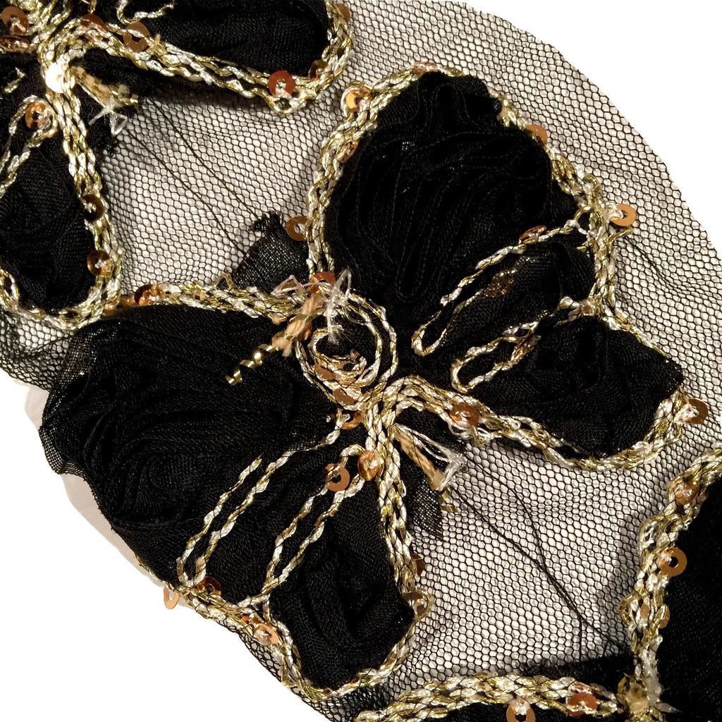 "Black 3"" sequin butterfly shabby chiffon rose trim - MAE Inspirations"