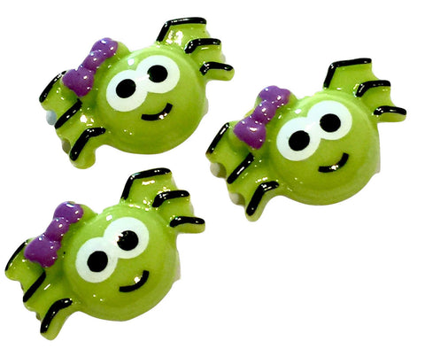 Cute green spider w/ purple bow resin cabochon 20x28mm / 1-5 pieces - MAE Inspirations