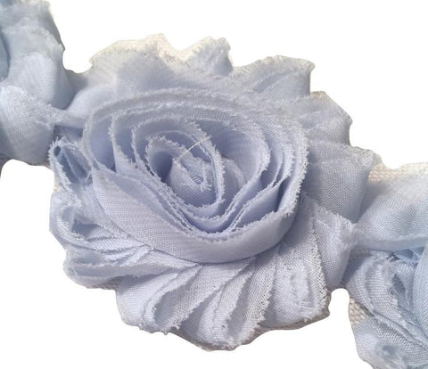 "Baby blue 2.5"" shabby chiffon rose trim - MAE Inspirations"