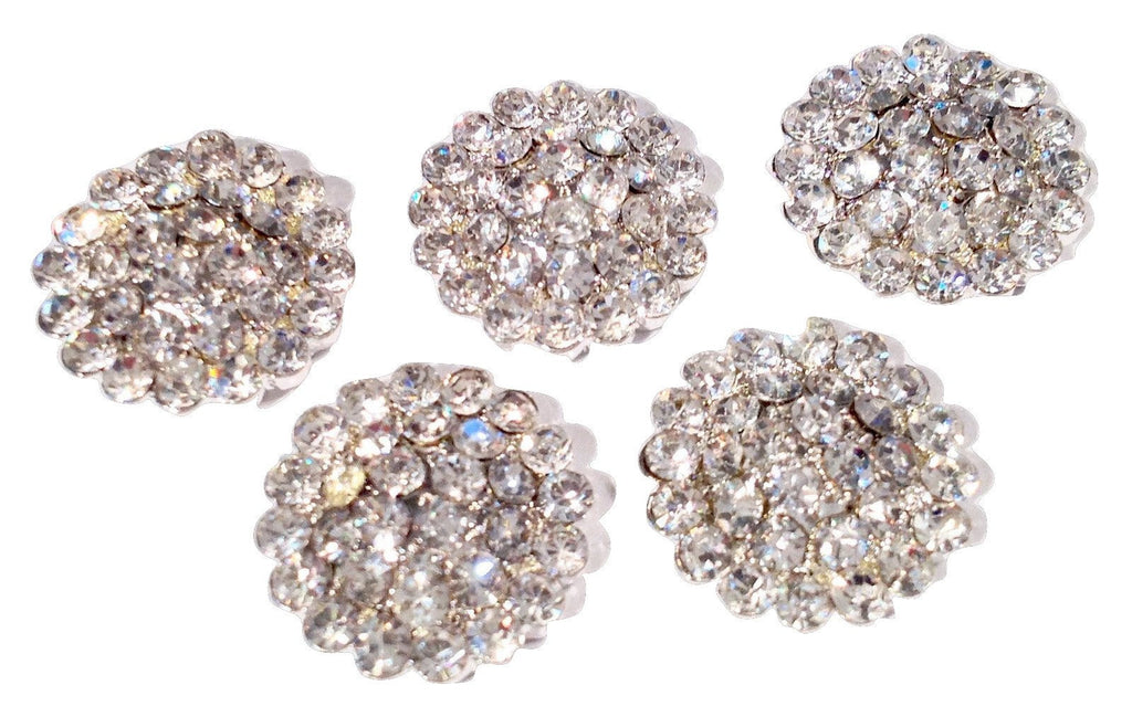 14mm round clear metal rhinestone flat back button - MAE Inspirations