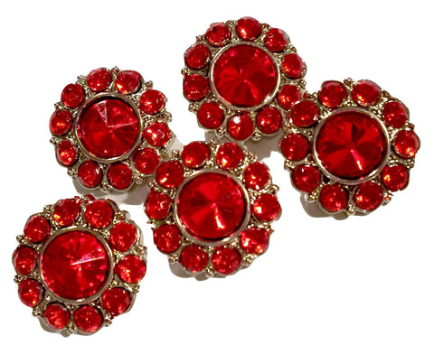 18mm red acrylic rhinestone button - MAE Inspirations