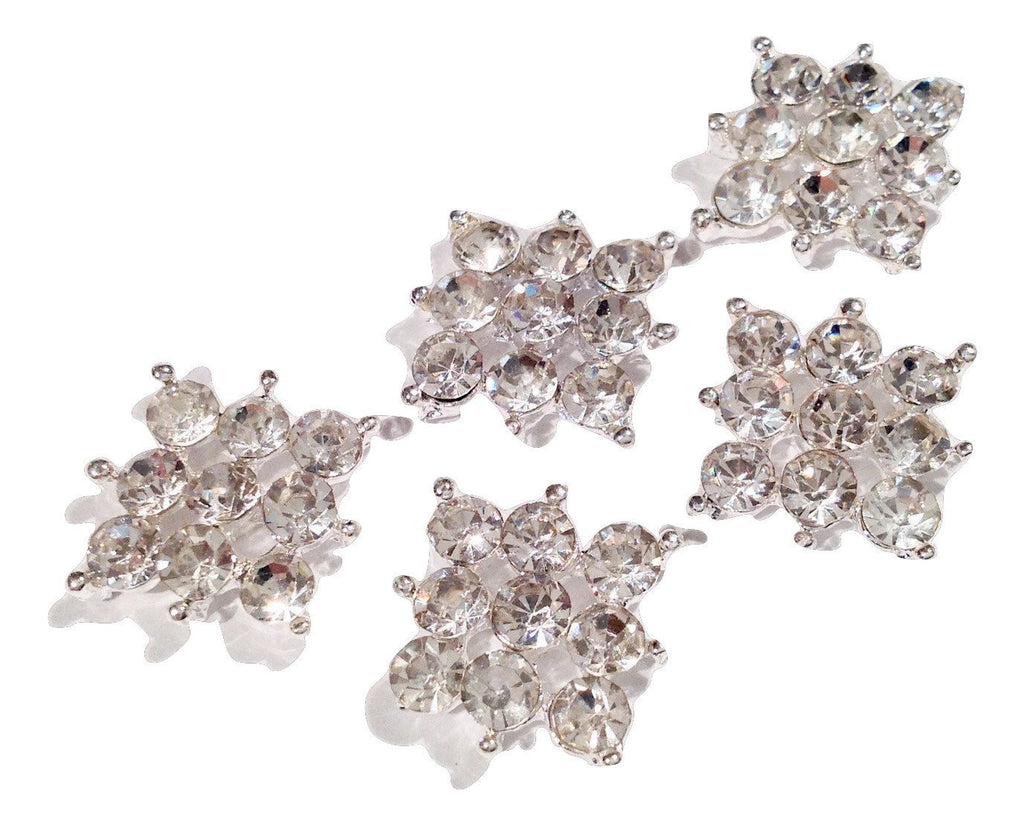 14mm clear square metal rhinestone flat back button - MAE Inspirations