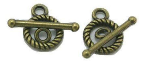 Antique bronze twisted toggle clasp 10x17mm / 1-5 sets - MAE Inspirations  - 1