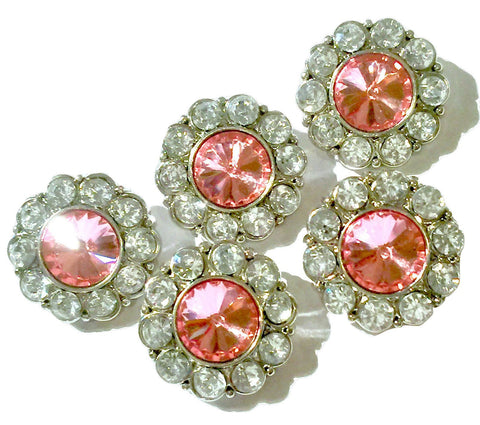 21mm clear w/ princess pink center acrylic rhinestone button - MAE Inspirations