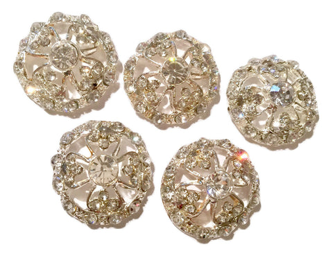 21mm crystal clear round metal rhinestone button - MAE Inspirations