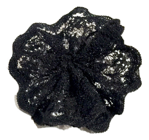 "Black 1.8"" scalloped lace ballerina flower - MAE Inspirations"