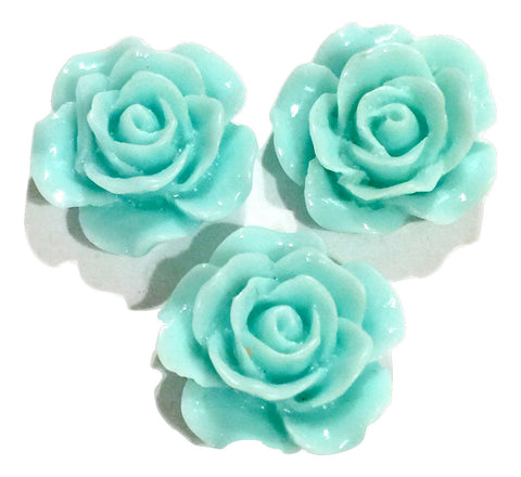 Aqua blue flower resin cabochon 15mm / 1-5 pieces - MAE Inspirations
