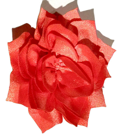"Coral pink 3"" poinsettia fabric flower - MAE Inspirations"