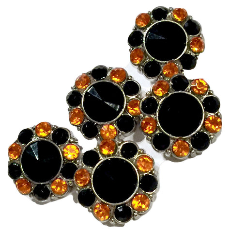 21mm orange & black Halloween acrylic rhinestone button - MAE Inspirations