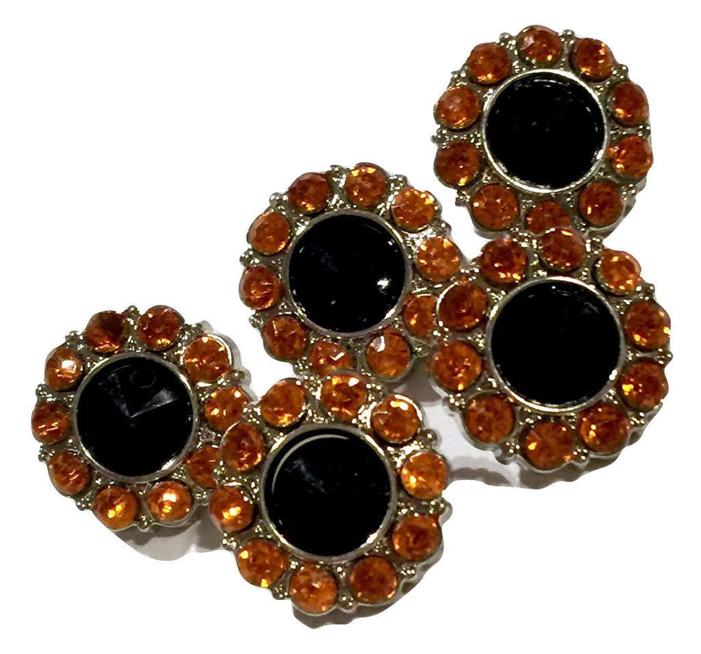 15mm orange & black Halloween acrylic rhinestone button - MAE Inspirations