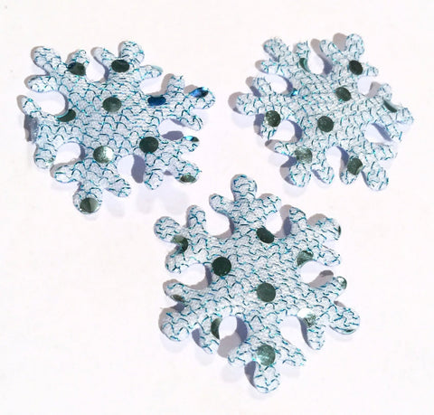 Blue sequin snowflake Christmas padded appliqués - MAE Inspirations