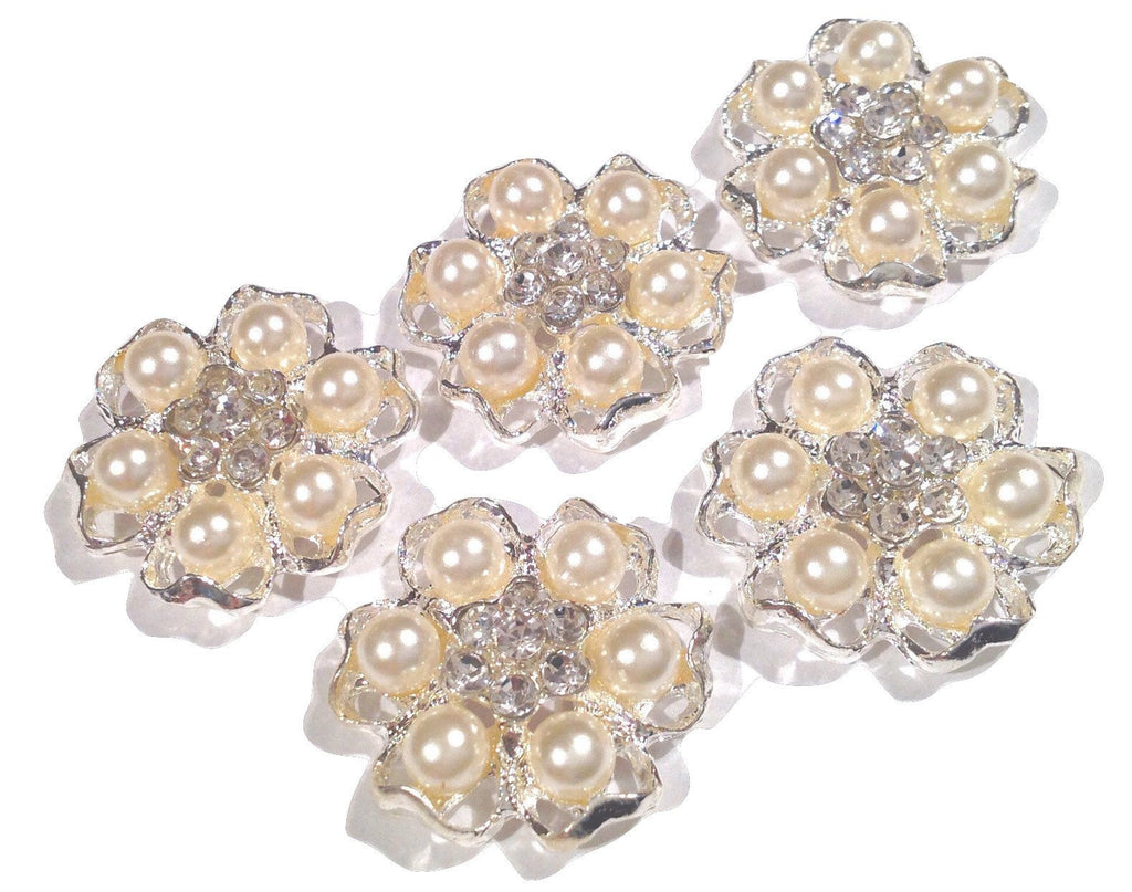 21mm pearl rhinestone flower metal flat back button - MAE Inspirations