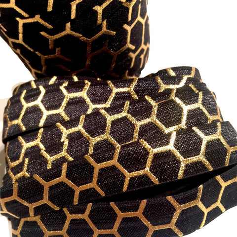 "Black w/ metallic gold honeycomb print 5/8"" fold over elastic FOE - MAE Inspirations"