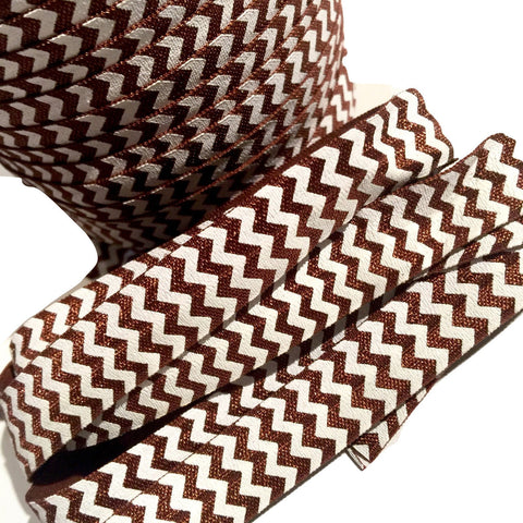 "Brown chevron printed 5/8"" fold over elastic FOE - MAE Inspirations"