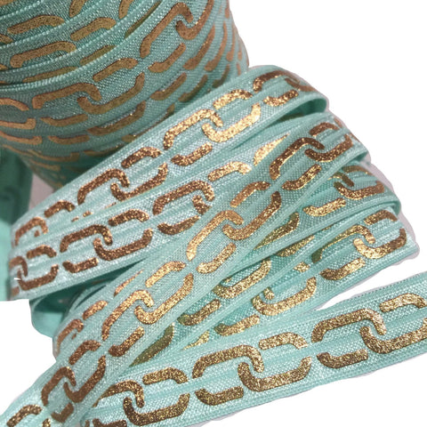 "Aqua blue w/ metallic gold chain link print 5/8"" fold over elastic FOE - MAE Inspirations"