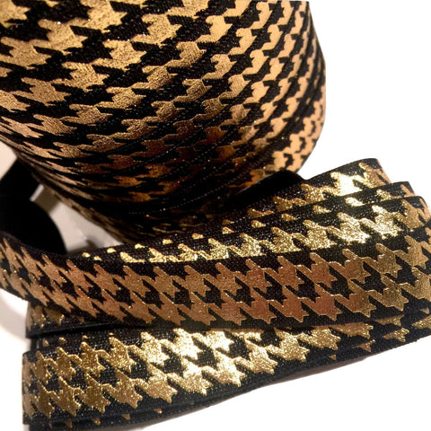 "Black w/ metallic gold houndstooth print 5/8"" fold over elastic FOE - MAE Inspirations"