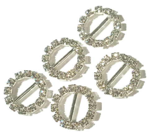15mm round rhinestone ribbon sliders - MAE Inspirations