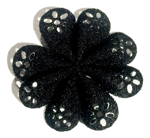 "Black 2"" hollow eyelet petal flowers - MAE Inspirations"