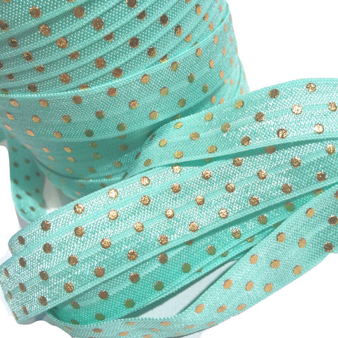 "Aqua blue w/ metallic gold polka dot print 5/8"" fold over elastic FOE - MAE Inspirations"