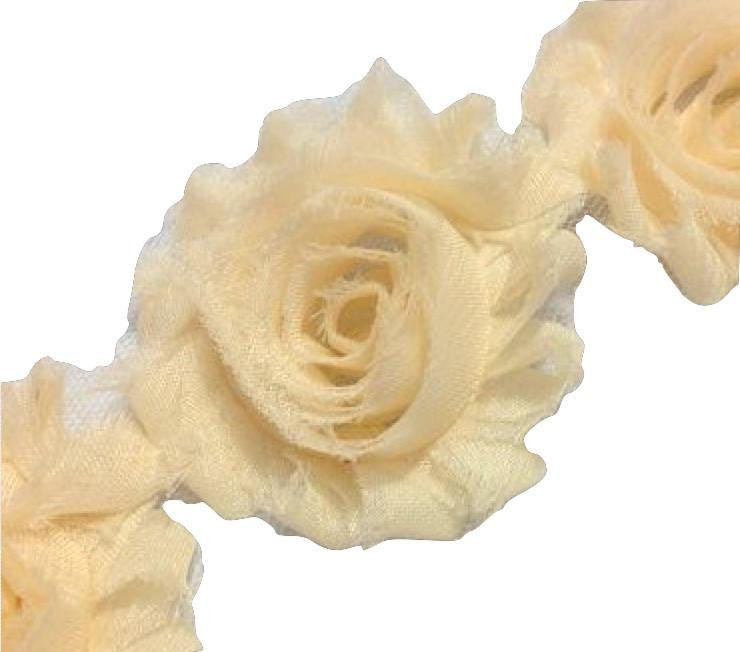 "Cream 2.5"" shabby chiffon rose trim - MAE Inspirations"