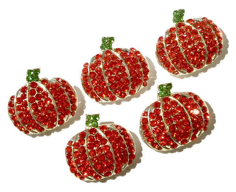 22x20mm Halloween pumpkin ribbon sliders rhinestones - MAE Inspirations
