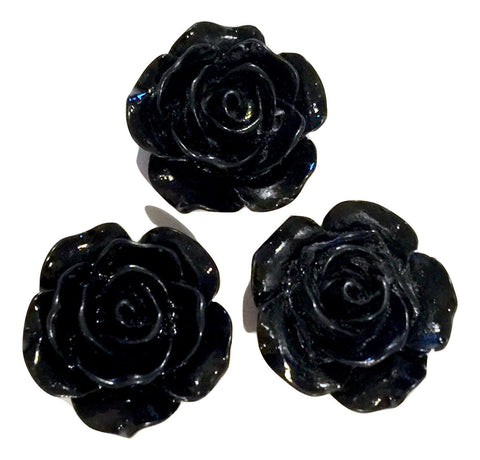 Black flower resin cabochon 15mm / 1-5 pieces - MAE Inspirations