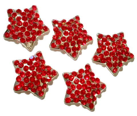 21mm red 4th of July star metal rhinestone flat back button - MAE Inspirations