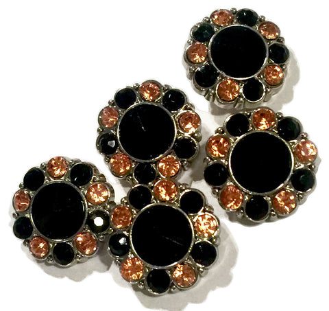 21mm light orange & black Halloween acrylic rhinestone button - MAE Inspirations