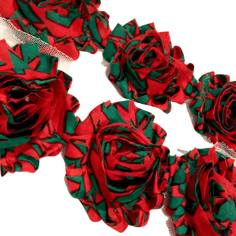 "Christmas stripe print 2.5"" shabby chiffon rose trim - MAE Inspirations"