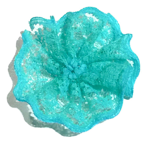 "Aqua green 1.8"" scalloped lace ballerina flower - MAE Inspirations"