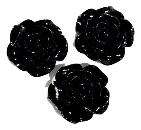 Black flower resin cabochon 18mm / 1-5 pieces - MAE Inspirations