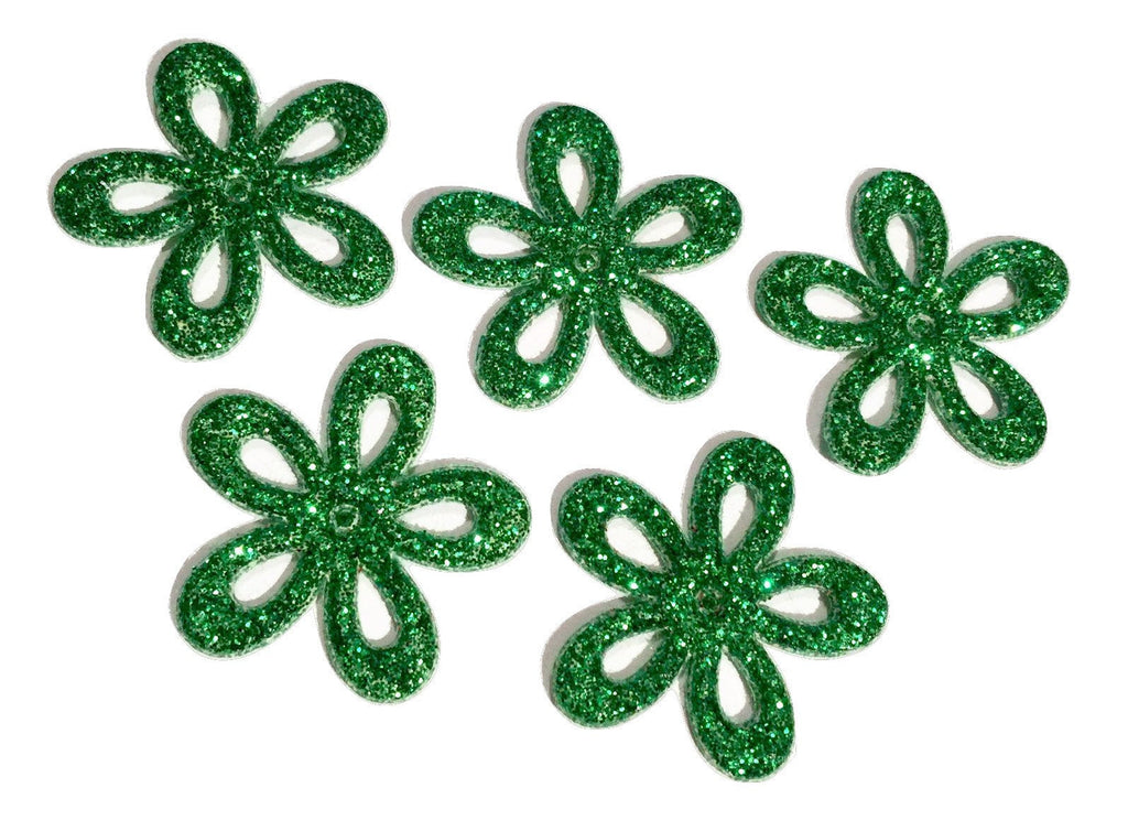 Green glitter Christmas flower padded felt appliqués - MAE Inspirations  - 1