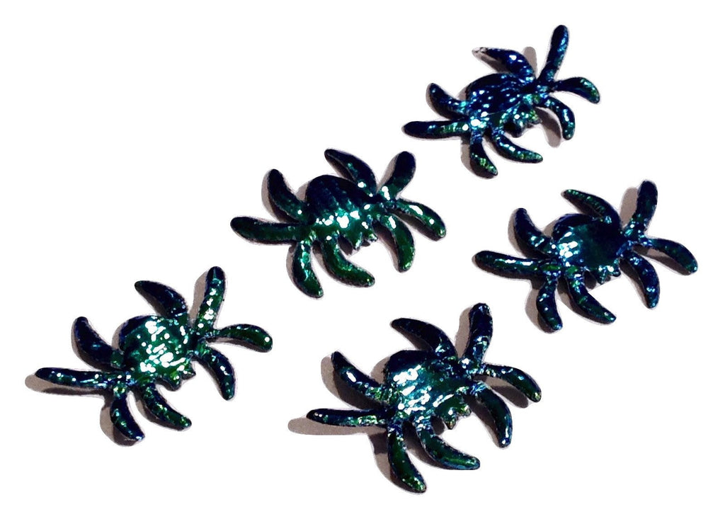 Iridescent green Spider Halloween padded appliqués - MAE Inspirations