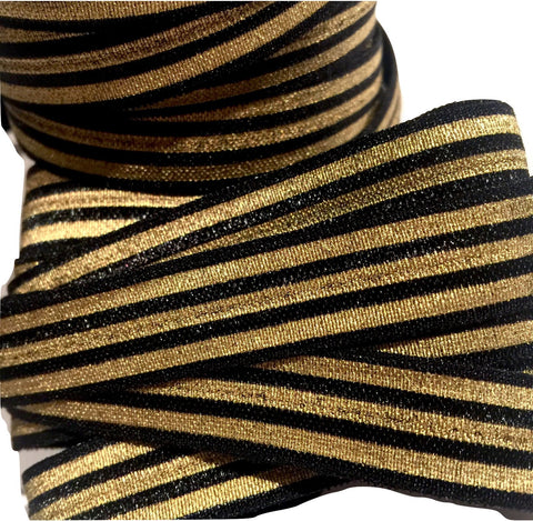 "Black w/ metallic gold stripe print 5/8"" fold over elastic FOE - MAE Inspirations"